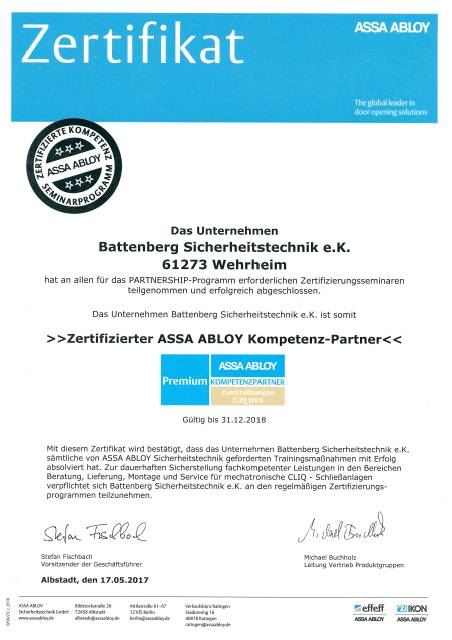 Zertifikat Fa Battenberg