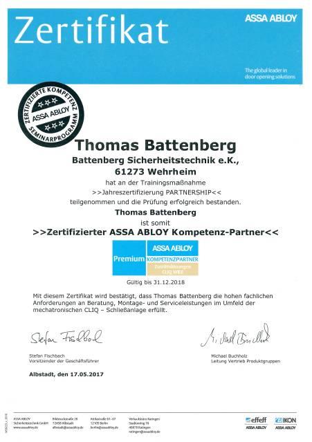 Zertifikat Th. Battenberg