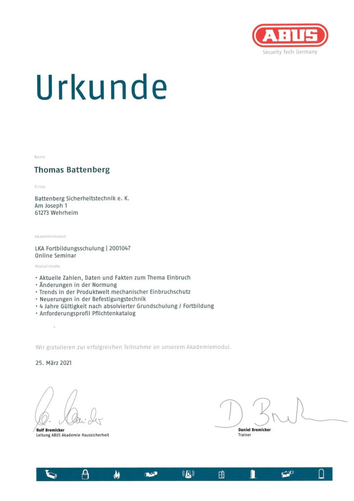 Urkunde - ABUS - LKA Fortbildungsschulung, Thomas Battenberg