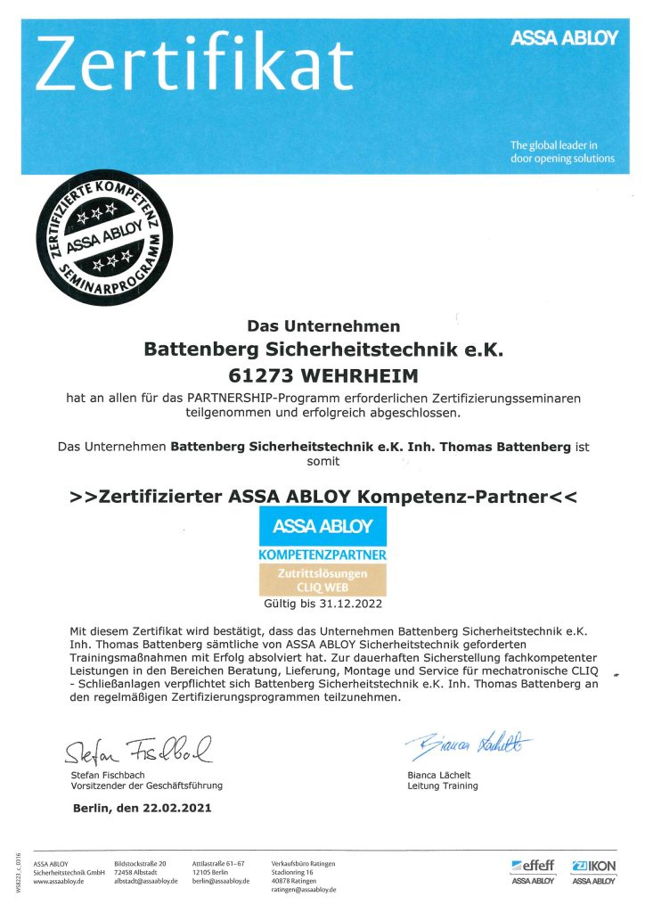 Zertifikat- ASSA ABLOY, Battenberg Sicherheitstechnik