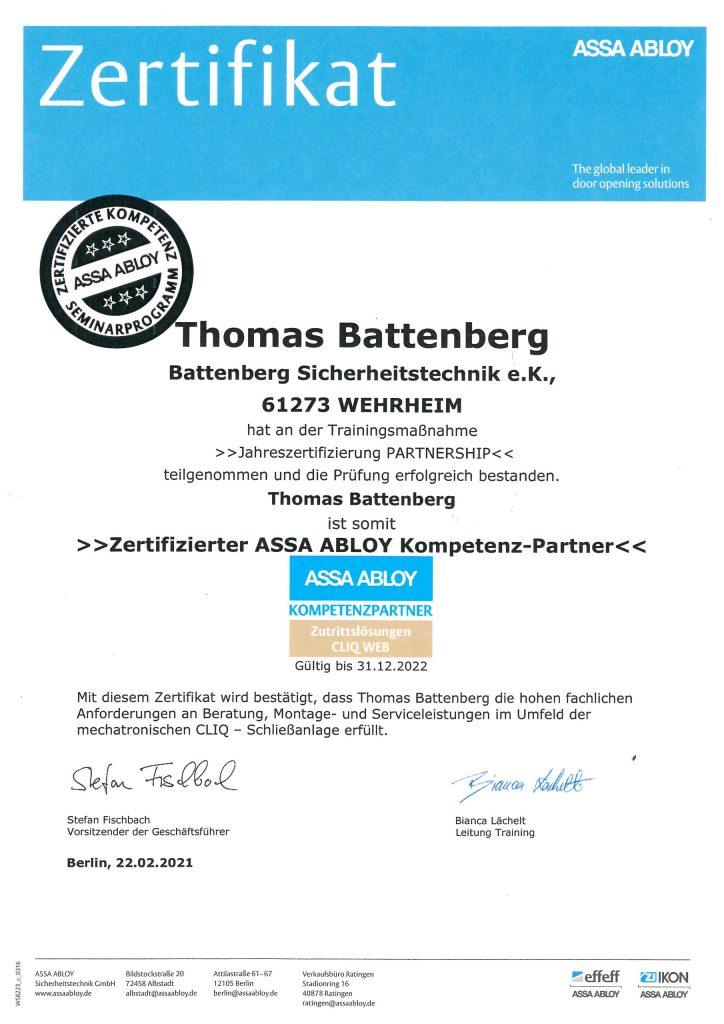 Zertifikat- ASSA ABLOY, Thomas Battenberg